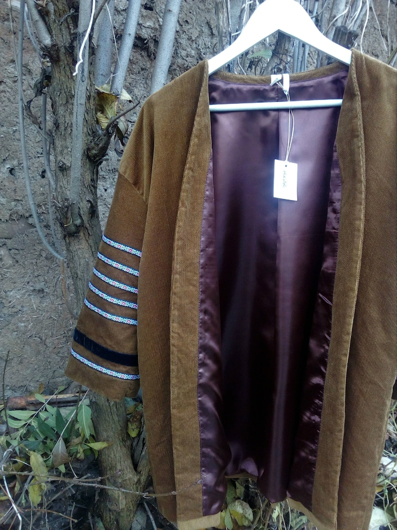 Ethnic Kimono Robe Boho Velvet Women/'s Blazer Boho Kimono Kaftan Velvet Coat Cotton Tobacco Kimono Jacket