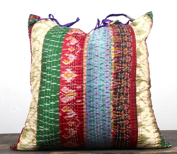 Silk KANTHA PILLOW Vintage Pattola Silk Sari Large