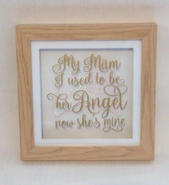 Mum memory frame, angel wings frame, Mam memory frame, remembering Mum, Mam  in heaven, oak frame, remembrance frame, memorial