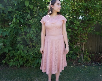 9df3de68aaf True Vintage 1950s Medium Party Dress Lace with Rhinestones Salmon Baby  Pink Dress 50s Wounded Bird