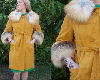 698bd484781cb True Vintage Golden Mustard Yellow Suede and Genuine Fur Jacket from the  1960s or 1970s with Wrap Belt A Foxy Winter Coat