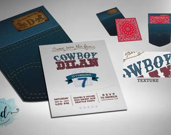 Cowboy Jeans Pocket Invitation Printable
