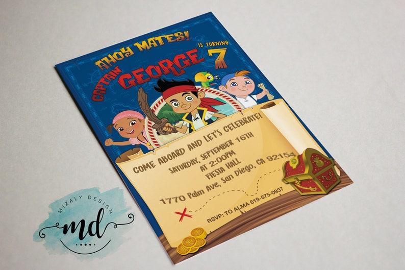 Jake And The Neverland Pirates Printable Invitation Etsy