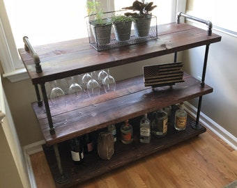 industrial wood furniture distressed bar cart rustic coffee kitchen island industrial rollaway bar steampunk furniture wine furniture etsy