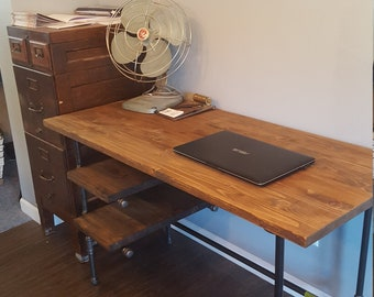 industrial office desk diy etsy industrial desk with shelves steampunk home office pipe and wood desk computer large