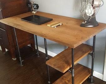 Pipe Desk With Shelves, Rustic Desk, Industrial Pipe Desk, Wood Office Desk,  Reclaimed Wood Desk, Office Desk, Wood And Steel Desk