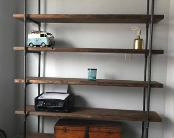 Industrial Bookcase   Metal Bookcase   Reclaimed Bookcase  Wall Unit    Industrial Bookcase, Rustic Bookshelf, Industrial Furniture