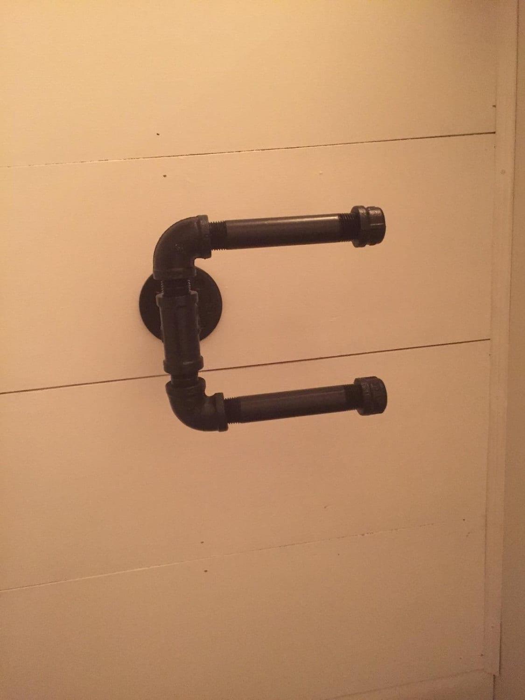 double porte papier toilette salle de bain industriel tuyau etsy. Black Bedroom Furniture Sets. Home Design Ideas