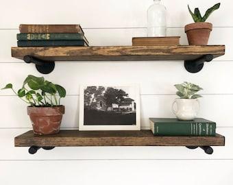 Rustic Wood Shelving, Wooden Shelves, Single Extra Long Various Depth Rustic Floating Shelf, Farmhouse Kitchen Shelf, Bookcase