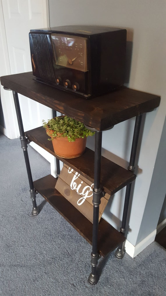 Console Table with Storage, Narrow Console Table, Sofa Table, Buffet Table,  Reclaimed Wood Table, Table with two shelves, Entry Hall Table,