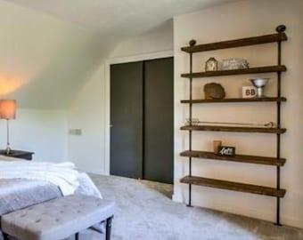Reclaimed wood shelf -  Urban Wood - Storage Shelves - Bookcase - Wood Shelves- - Metal Bookcase - Pipe Shelf - Bar Shelves  - Steampunk