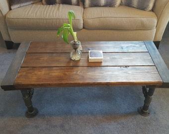 Industrial Coffee Table, Rustic Table, Steel Pipe, Rustic Coffee Table,  Rustic Accent