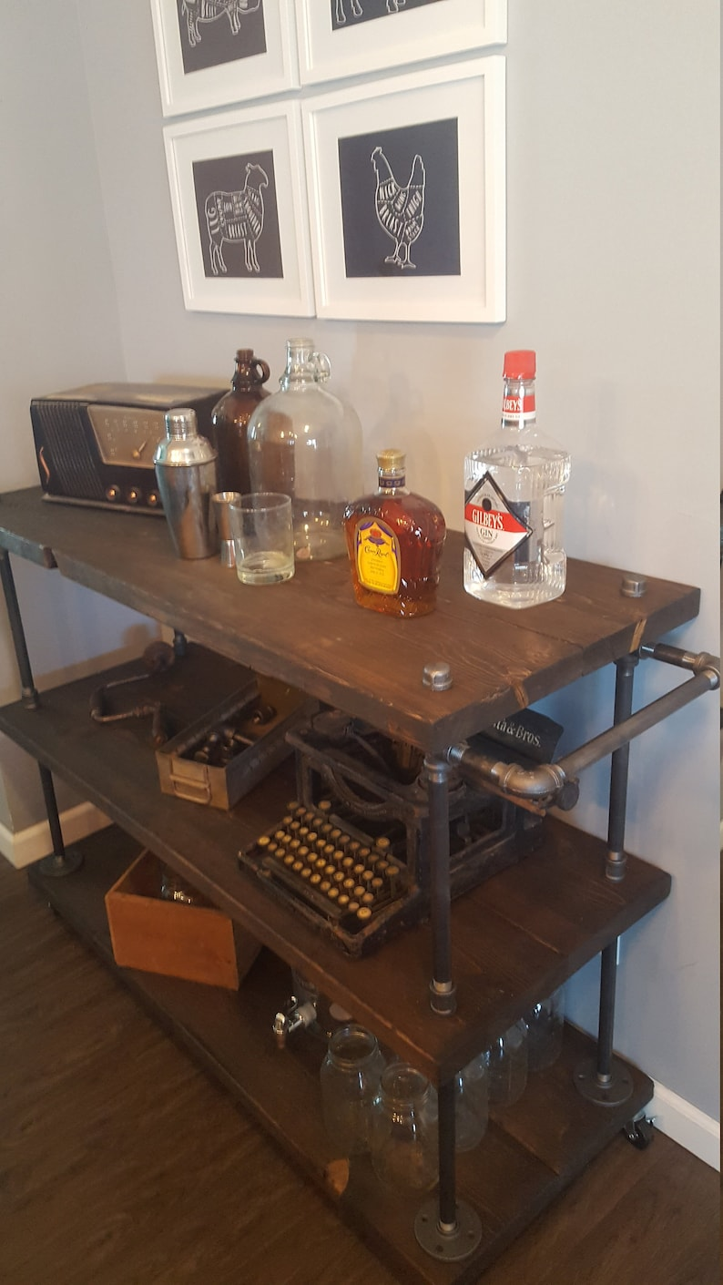 Rolling Bar Cart- Microwave Cart - Coffee Cart - Kitchen Island -  Industrial Cart - Roll-away bar - Steampunk Furniture - Wine Cart