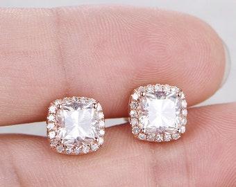 Solid14k Yellow Gold4.24Ct Round Brilliant Cut Moissanite Diamond Stud Earrings