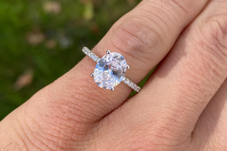 Wedding Ring Valentine\u2019s Day gift Oval Cut Ring Promise ring 2ct Classic Oval Engagement Ring Solitaire ring