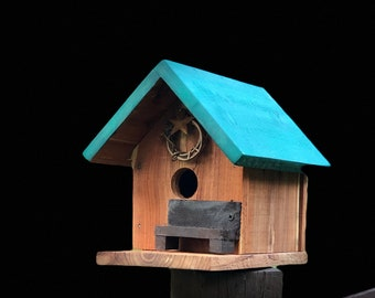 Rustic Cedar Birdhouse with Green Roof & Bench