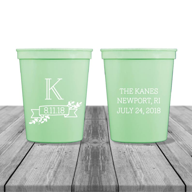 Rustic Wedding Party Cups Personalized Cups Wedding Logo Wedding Cups Birthday Cups Cocktail Cups Wedding Crest Monogrammed Cup
