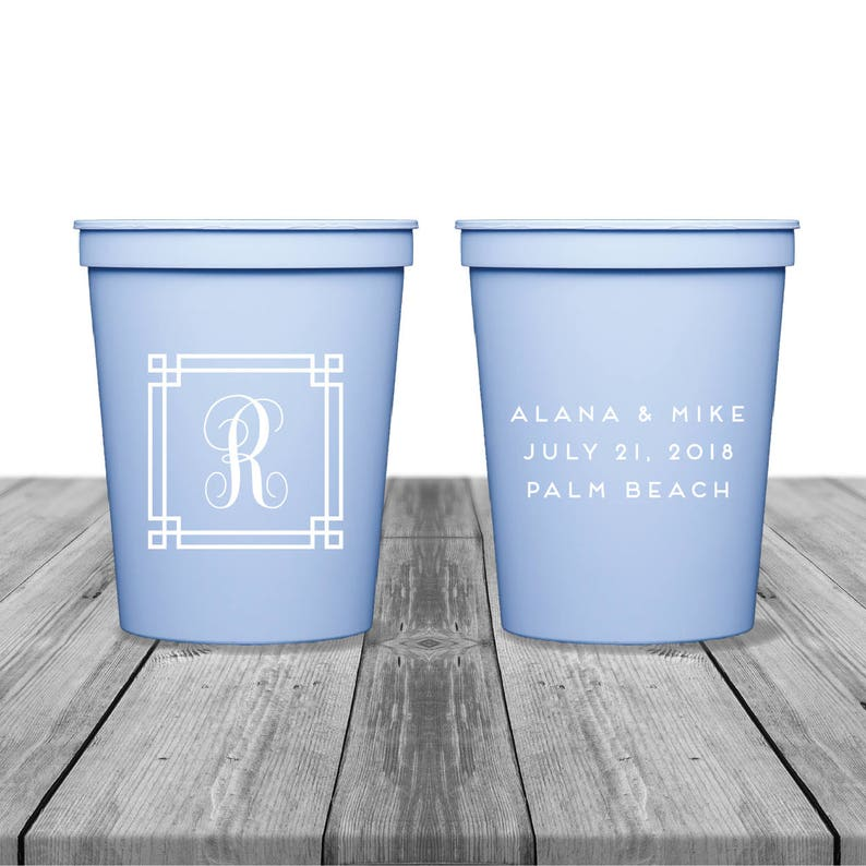 Palm Beach Wedding Cups Plastic Cups Party Cups Birthday Cups Cocktail Cups 1360 Wedding Monogram Personalized Cups Wedding Cups