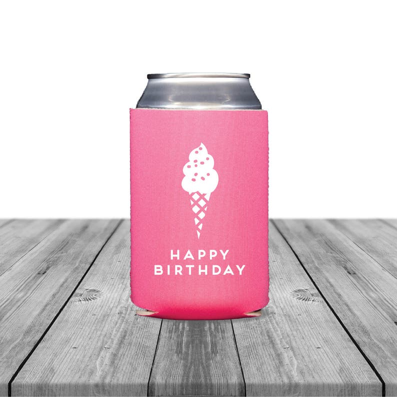 Personalized Coolies Can Hugger Birthday 1266 Wedding Bachelorette Ice Cream Happy Birthday Neoprene Can Coolers Custom Can Coolers