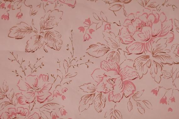 Pink Roses Vintage Wallpaper Material For Needlework Scrapbooking Soviet Vintage Unused Wallpaper Wallpaper In Rolls Soviet Wallpaper