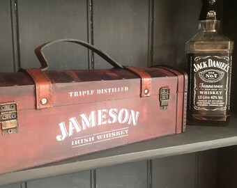 Jameson irish whiskey lover gift box vintage wooden storage trunk chest