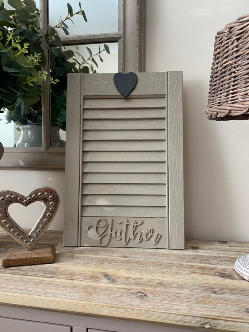 Stunning taupe crackle weathered effect vintage style wooden shutter rustic design gather and slate heart shutters painted and aged effect