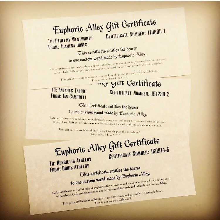 Gift Certificate For Custom Wand Etsy