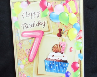 7th Birthday Card 7 Year Old Girl Happy 3 D Decoupage Handmade In UK Personalise