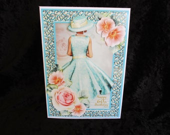60th Birthday Card Ladies Age 35th Elegant Lady Any Aged Females Handmade In UK