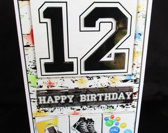 12th Birthday Card 12 Year Old Boy Happy 3 D Decoupage Handmade In UK Personalise Teenager