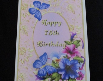 75th Birthday Card 3 D Decoupage Happy Petunia Female Personalise Handmade In UK