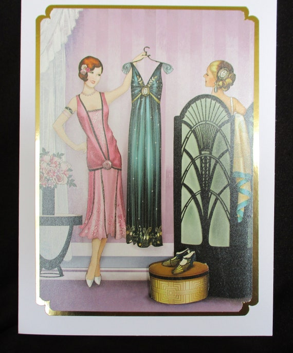 Ladies Birthday Card Art Deco Trying