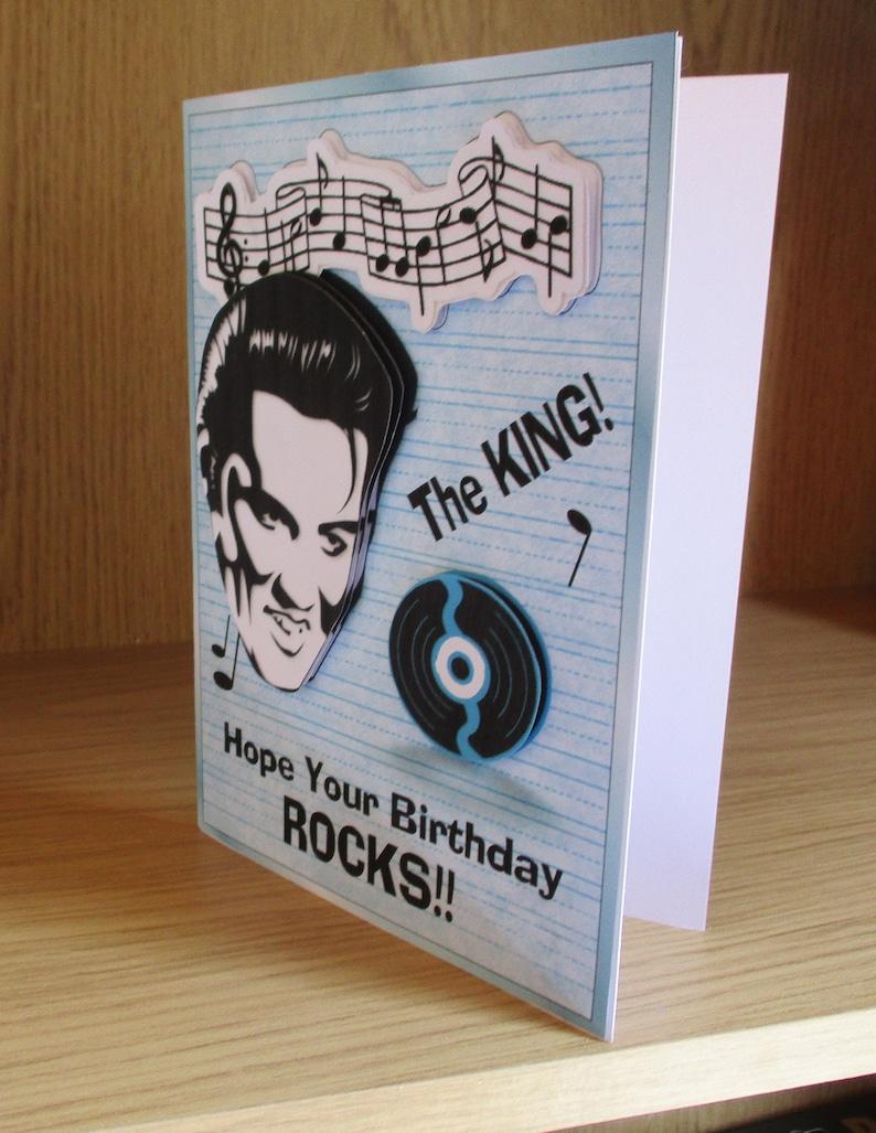elvis themed birthday card happy birthday card male or  etsy