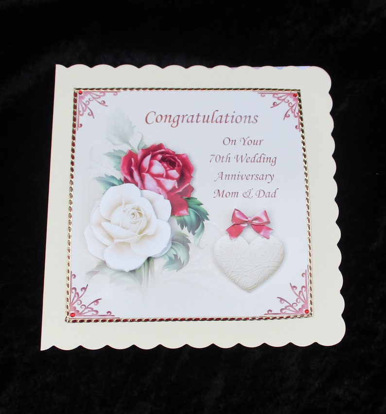 70th Wedding Anniversary.70th Wedding Anniversary Card For Mom Dad Mum And Dad Nan And Granddad Platinum Anniversary Card Congratulations Handmade In The Uk