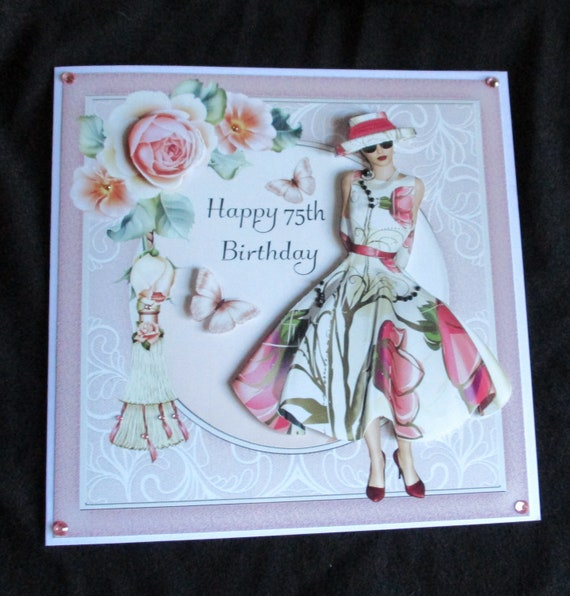 75th Birthday Card 3 D Decoupage Art Deco Lady In Pink Any Age Female Elegant Handmade The UK 7