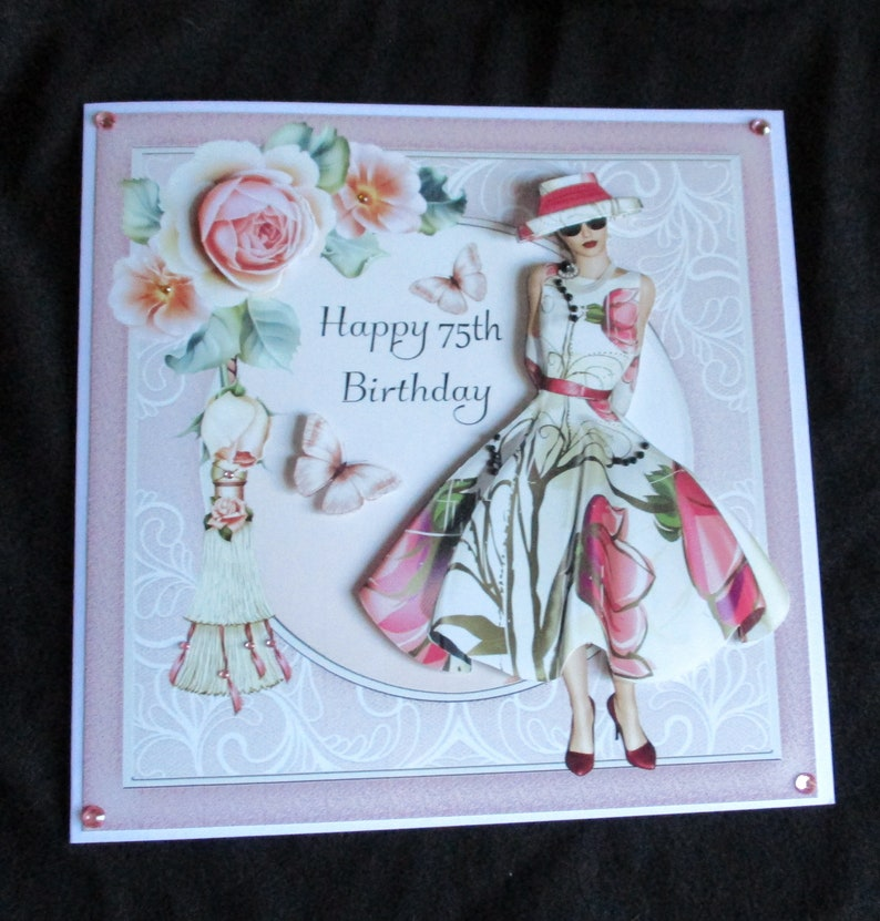 75th Birthday Card 3 D Decoupage Art Deco Lady In Pink