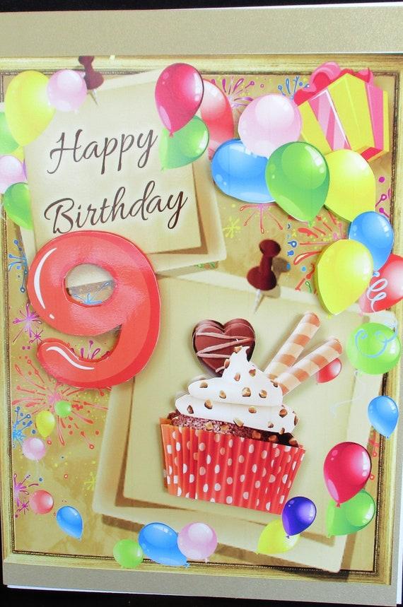 9th Birthday Card Cupcake Year Girl Happy