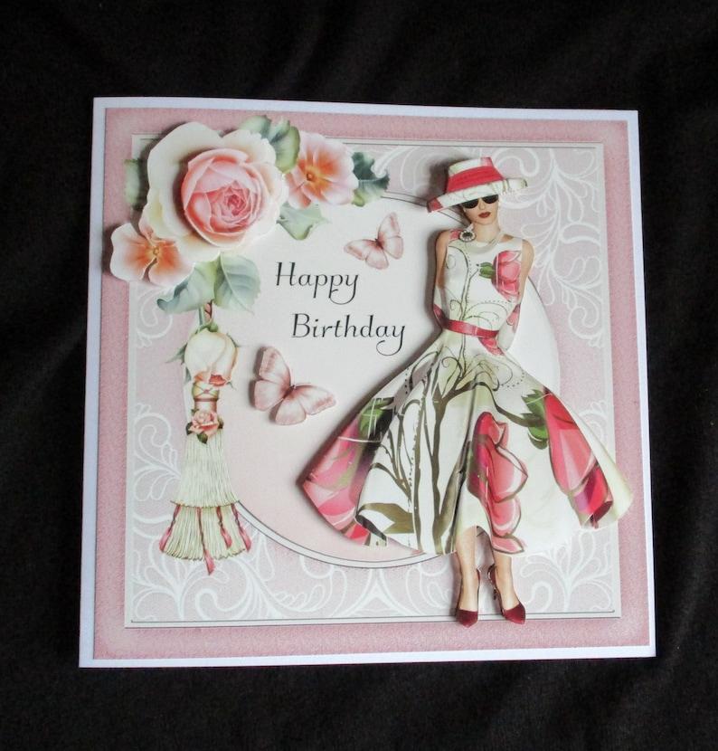 Elegant Lady Birthday Card 3 D Decoupage Art Deco
