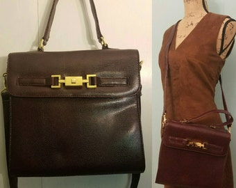 429d34f04c Vintage Jaclyn Smith Textured Rouge-Brown Crossbody Bag