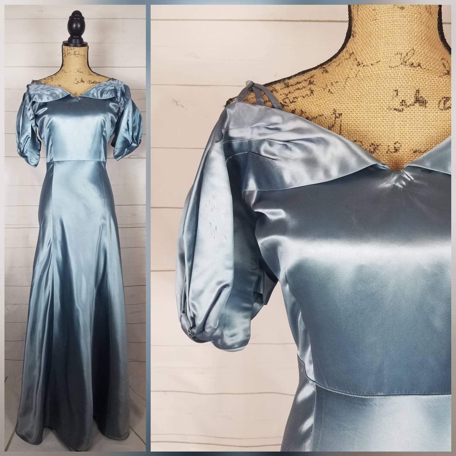 Vintage 1940s 1950s Slate Blue Satin Evening Gown