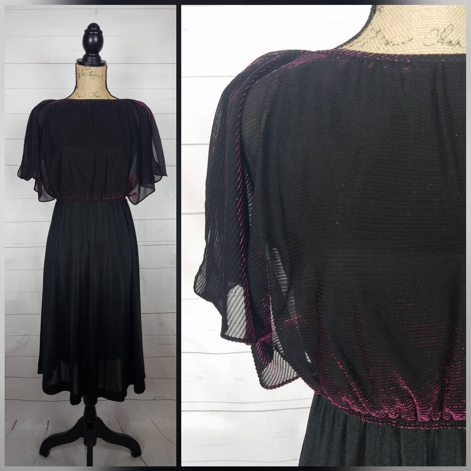 a43bea5ce33 Vintage 1970s 1980s Joni Blair Fuschia   Black Shimmer Sheath Cocktail Dress