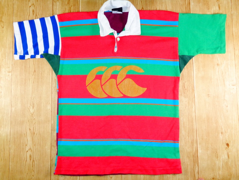 20/% OFF Vintage New Zealand CANTERBURY Striped Rugby Jersey Rare Design