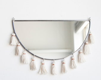 Half Circle Mirror with Tassels