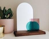 Look At Me - Teal & Pale Purple Glass Modern Vanity Mirror on Wood Base