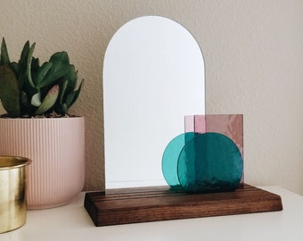 Look At Me - Teal & Pale Purple Glass Modern Vanity Mirror on Wood Base