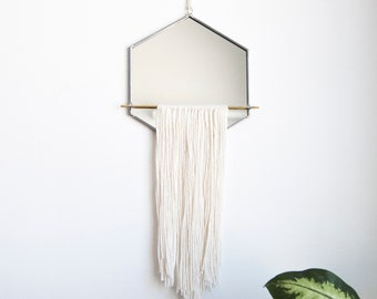 Hexagon Mirror with Fringe & Brass Detail
