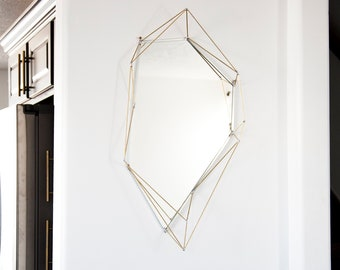 Large Asymmetrical Mirror with Brass Detail