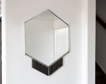 Large Hexagon Mirror with Fine Chain Fringe and Brass