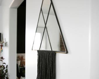 Large Shapely Triangle Mirror with Fringe (see photos for color options)