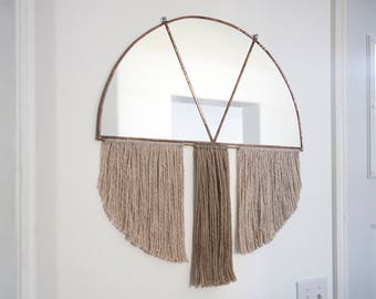 Large Half Circle Mirror in Copper Patina with Oatmeal & Dark Nude Fiber Fringe and Brass Rod